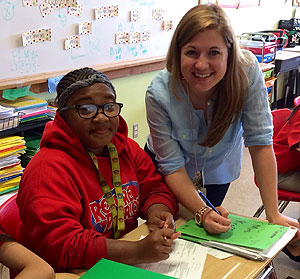 Erin Krafft with one of her students