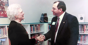 ...and in 1992, with Barbara Bush, when Bush ES opened.