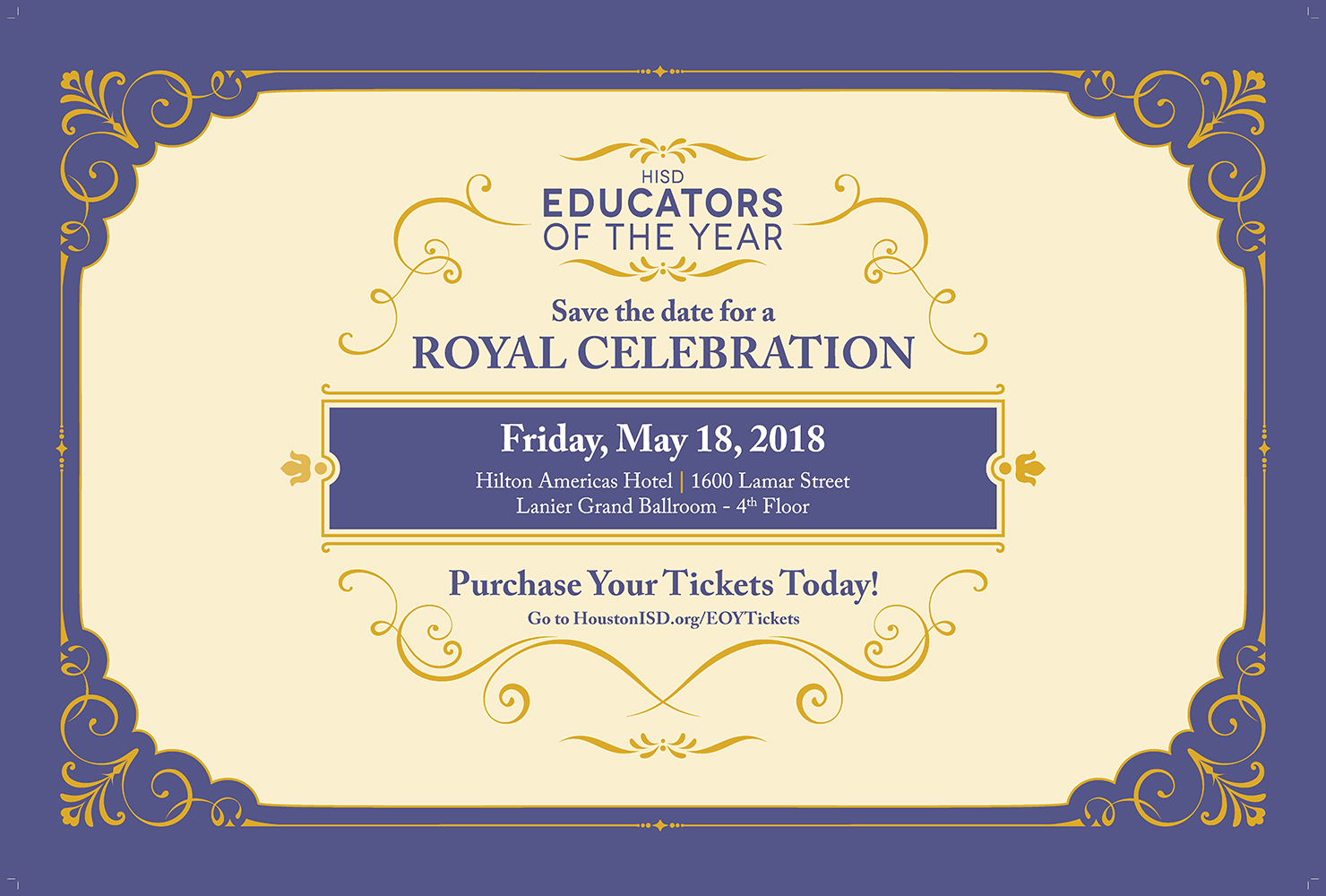 Tickets on sale now for educators of the year banquet hisd the years banquet is royal wedding themed and will recognize the districts campus toys beginning toys principals of the year and other special 1betcityfo Images