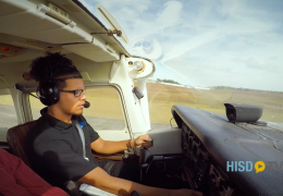 Sterling Aviation ECHS student Christian Colon making his first solo flight