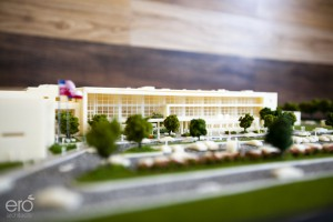 A 3D model by ERO Architects depicts the design for the new Furr High School.