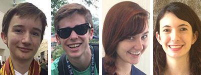 From left, Zachary Kordum, Connor Burwell, Camille Potts, and Claudia Heymach