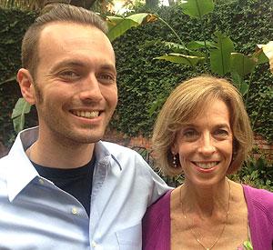 Read Houston Read volunteer Susan Imre with her son John Lohmann, a social studies teacher at Wheatley High School.