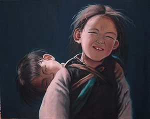 "A Gold Key winning painting entitled ""Childhood,"" by Carnegie Vanguard HS student Oulu Li"