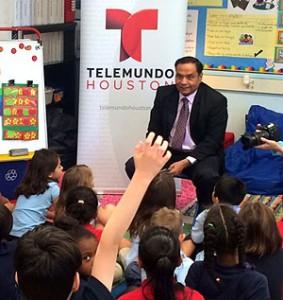 Telemundo Houston weekend anchor Antonio Hernandez visits with students at Wharton K-8 Dual Language Academy.
