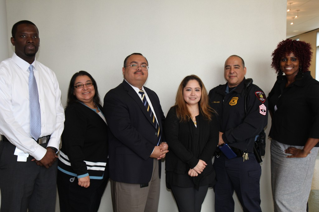 (From left to right): Abdul Ly, Tori Cortez, Leo Bobadilla, Nancy Ramon, Sgt. Juan Mellado and Cloria Witherspoon.