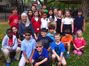 Karla Cisneros with her students at Harvard ES