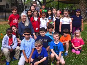 Karla Cisneros with her students at Harvard ES