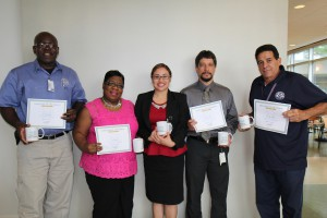 (From left to right): Roy Giles, Pat Sykes, HISD Sr. Business Analyst Priscilla Martinez, Kelvin Bryan, and Eusebio Silver.