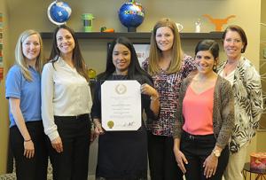 Nutrition Services representatives Jennifer Lengyel, Amanda Oceguera, Audene Chung, Kasandra Davis, Lindsay Pollino, and Nan Cramer (L-R) pose with the award.
