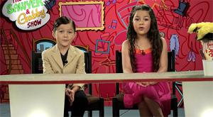 Payne Houck (left) in character on the show