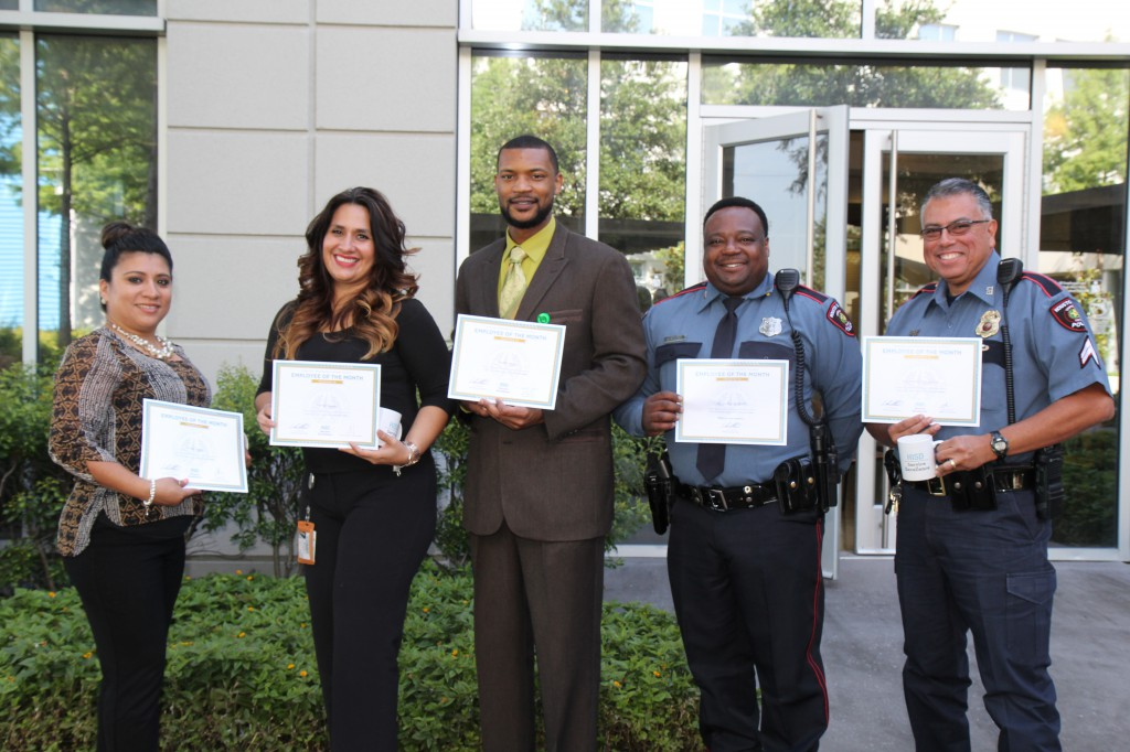(From left to right): Alvina Lopez, Olivia Salazar, Keith Lewis, Officer Kelvin Ruffin and Corporal Gilbert Garcia.