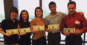 L-R are: Kenneth Yu, Christina Mao, Claire Weddle, Akash Shukla, and Michael Clark
