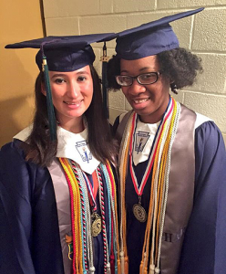 Several HISD schools saw significant increases in the amount of scholarship and financial aid offers their seniors received this year. Recent HAIS graduates Karina Barbosa (left) and Rynique Lucas received more than $1.7M between them.