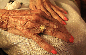 Ruby Lea Pope shows off the class ring she proudly wore until her death as a member of Booker T. Washington's Class of 1930.