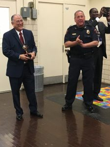 HISD PD Sgt. Adolph Saenz and HISD PD Chief of Police Robert Mock