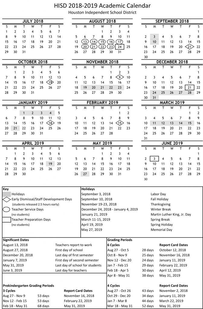 the academic calendar for the 2018 2019 school year which was approved by the board of education this month is now available online