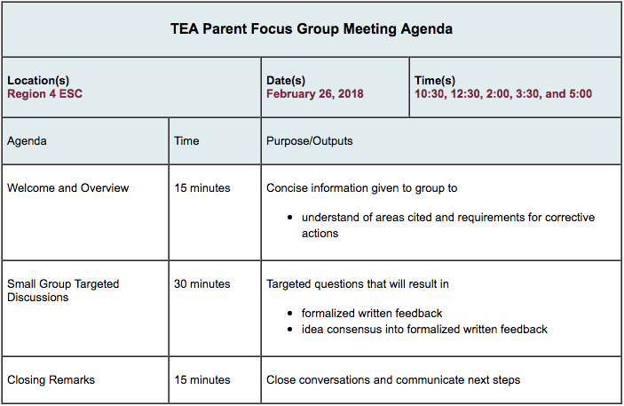 TEA Parent Focus Group Meeting Agenda