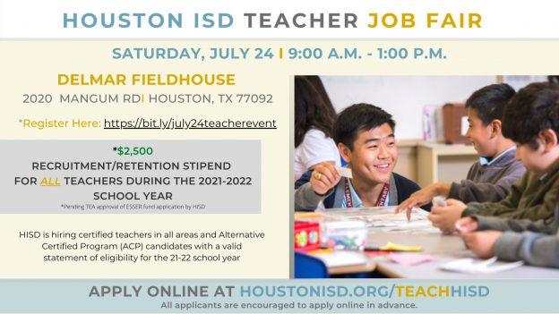 HISD Teacher Job Fair - Saturday July 24