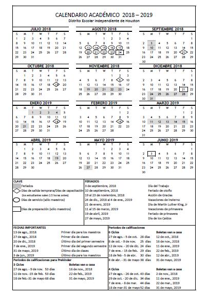 Hisd 2019 Calendar El calendario académico del ciclo escolar 2018 19 ya está en línea